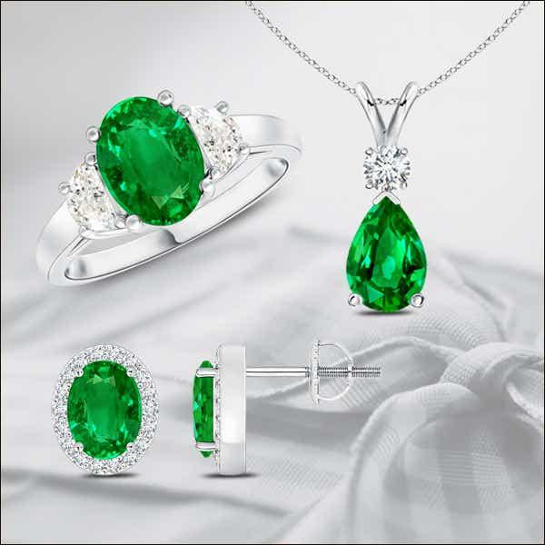 Naturally emerald accentuates a diamond's sparkle