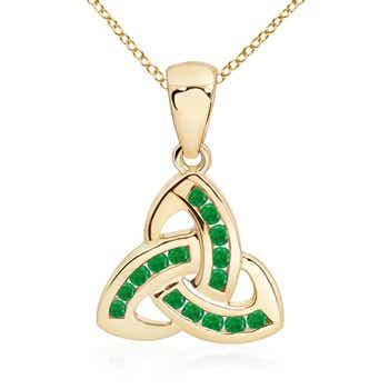 Round Emerald Interlinked Trillion Pendant