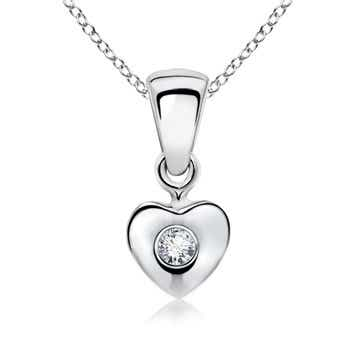 Round Diamond Heart Pendant for Baby