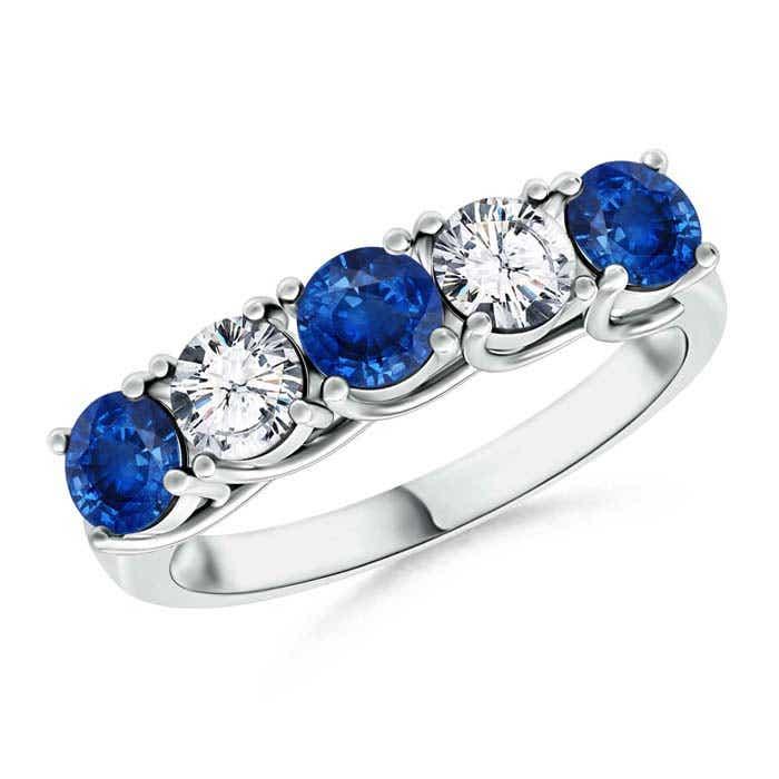 Round Sapphire and Diamond Five Stone Ring