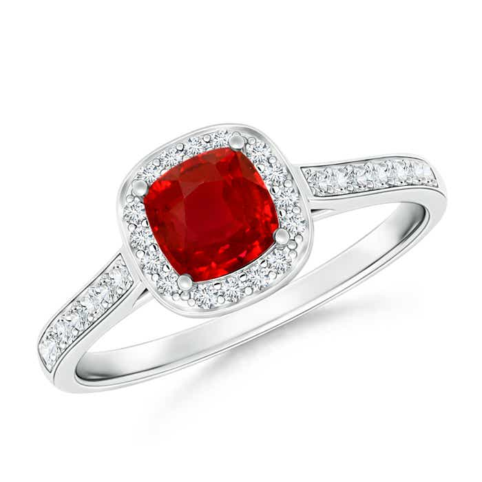 Classic Diamond Halo Ruby Vintage Ring