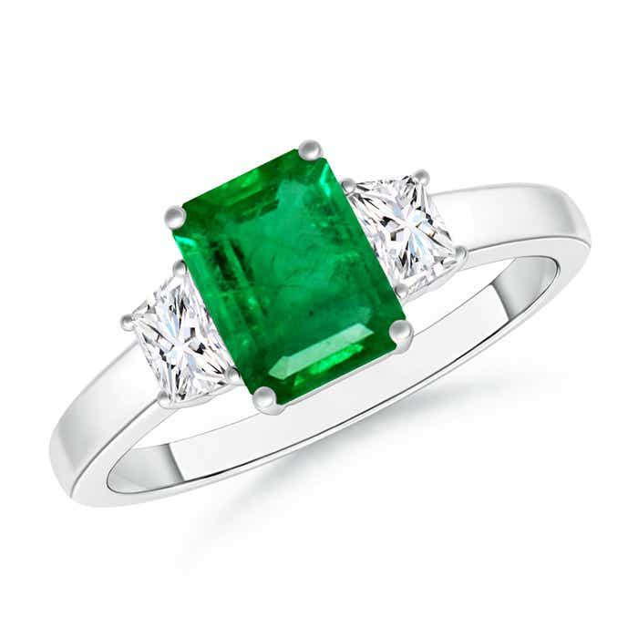 Emerald Cut Emerald and Trapezoid Diamond Three Stone Ring