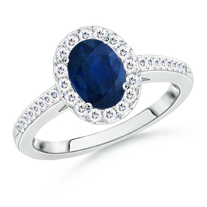 Oval Blue Sapphire Halo Ring With Diamond Accents