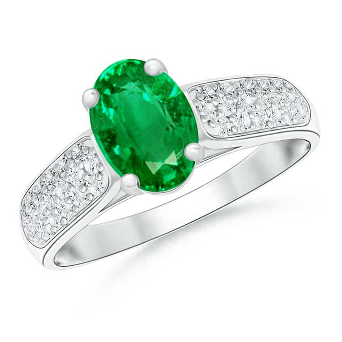 Angara Oval Emerald Ring with Diamond Band Set in Rose Gold 3UAzUldIZ