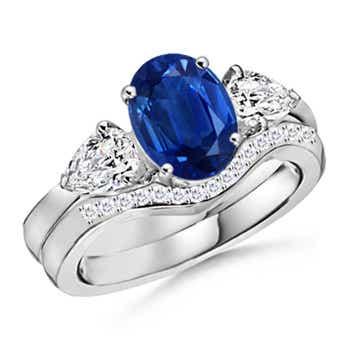 Oval Sapphire and Round Diamond Three Stone Wedding Ring Set