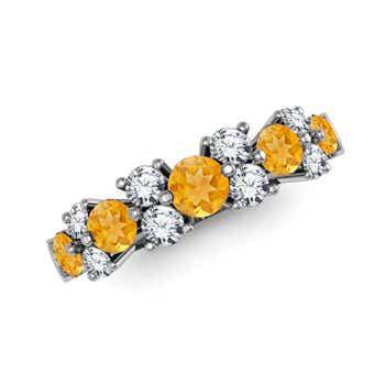 Round Citrine and Diamond Half Eternity Classic Ring