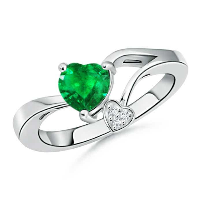 Angara Twin Diamond Shank Sapphire Solitaire Ring With Band in Platinum waKbzU3bW