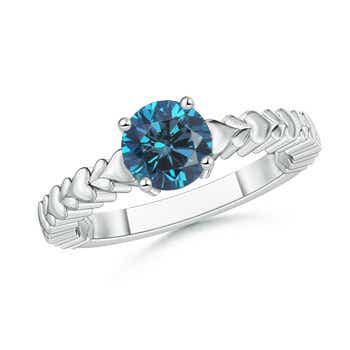 Enhanced Blue Diamond Solitaire Engagement Ring