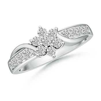 Cluster-Set Round White Moissanite Flower Ring