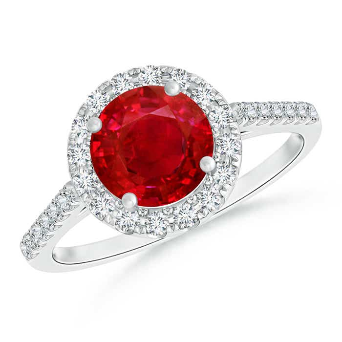 Ruby Halo Ring With Diamond Studded Shoulders