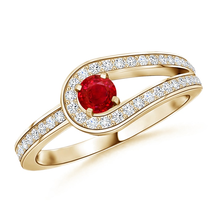 Solitaire Round Ruby and Diamond Infinity Promise Ring