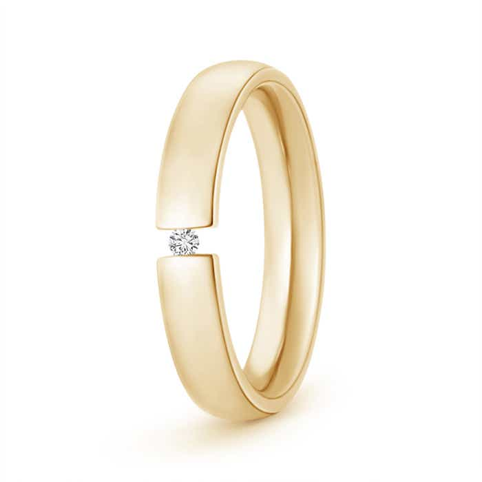 Tension-Set Round Diamond Men's Wedding Band