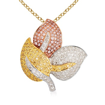 Round Natural Pink, Yellow and White Diamond Three Leaf Designer Pendant in Two Tone Gold in Pave Setting
