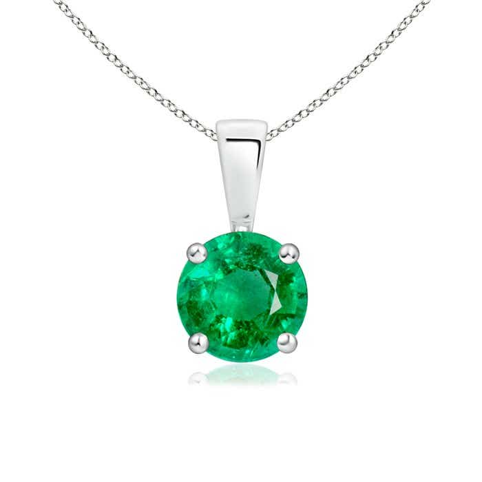 Prong Set Round Emerald Solitaire Pendant