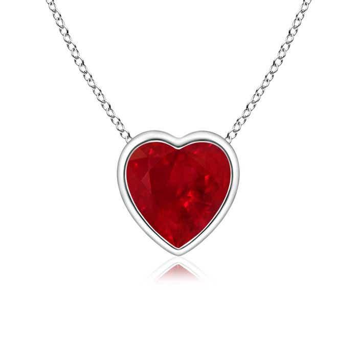 Bezel Set Solitaire Heart Shaped Ruby Pendant