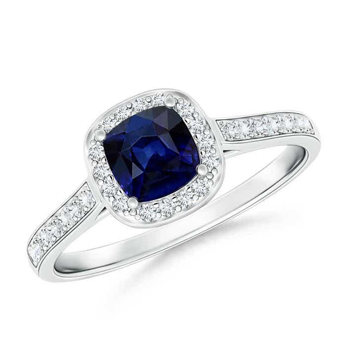 Vintage Diamond Halo Cushion-Cut Blue Sapphire Ring