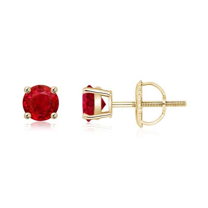 Basket Set Round Genuine Ruby Stud Earrings