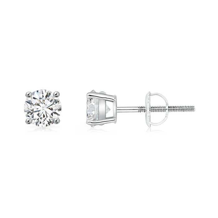 4 Prong Basket Setting Round Diamond Stud Earrings