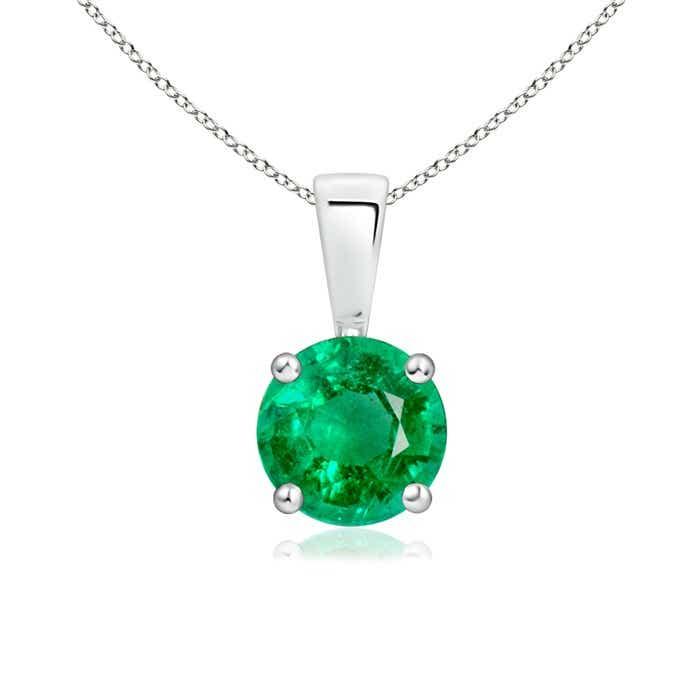 Prong Set Round Emerald Solitaire Pendant