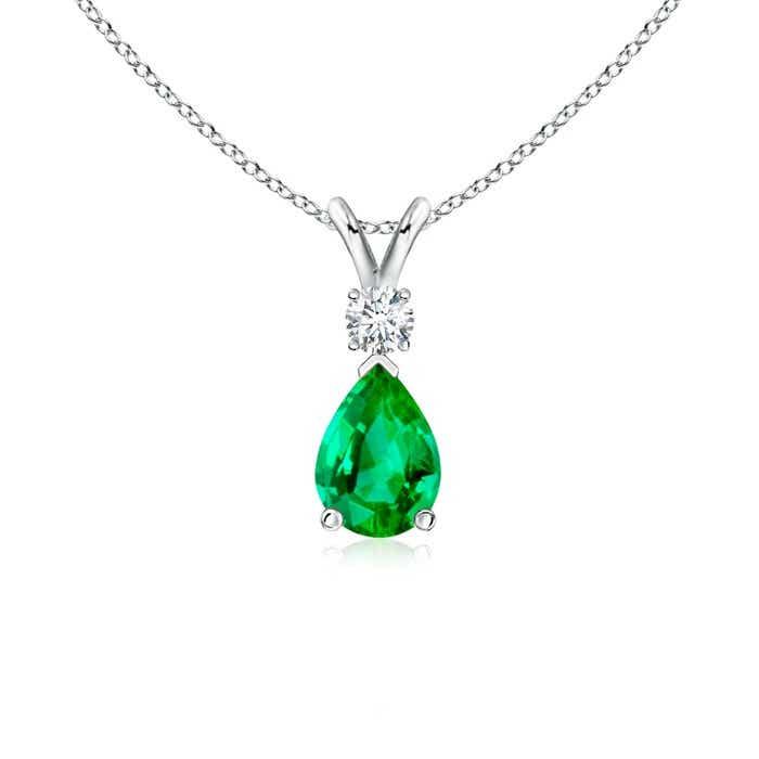 Pear Emerald Teardrop Pendant Necklace with Diamond
