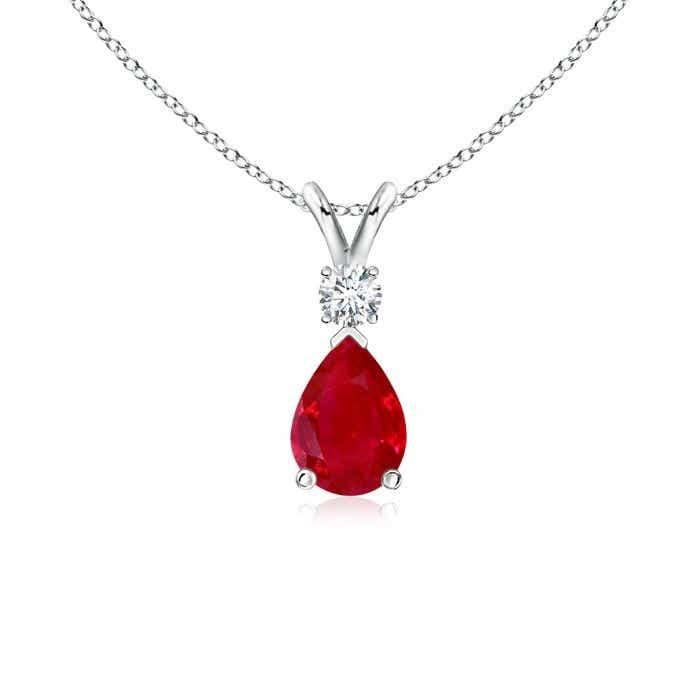 Pear Ruby Teardrop Pendant Necklace with Diamond