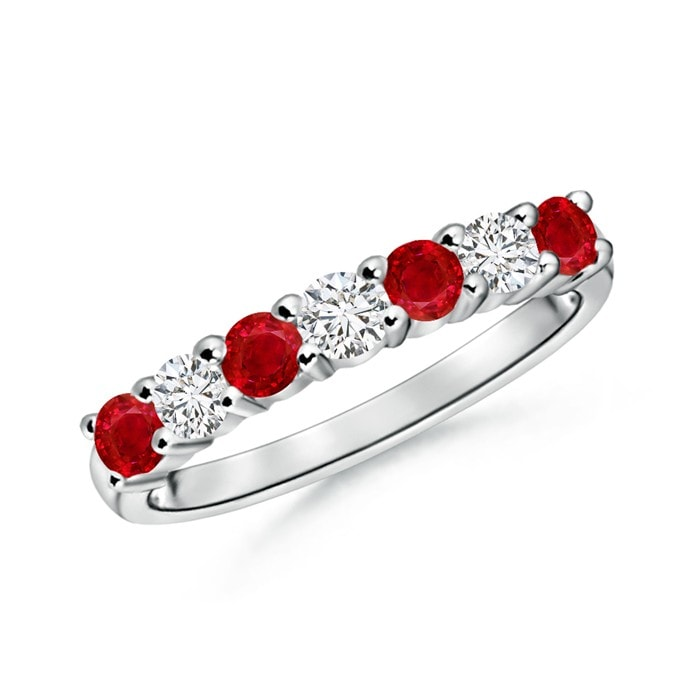 Round Diamond & Ruby Half Eternity Wedding Ring