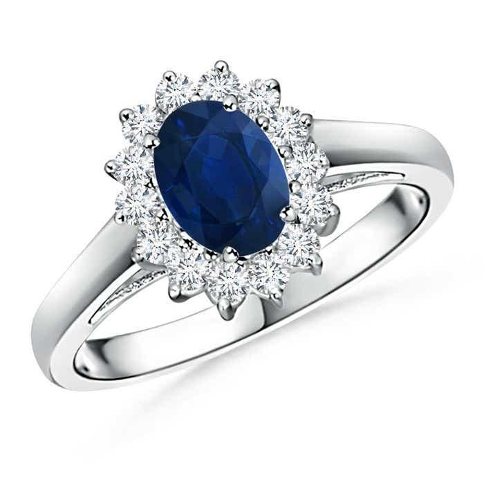Princess Diana Inspired Blue Sapphire Ring with Diamond Halo