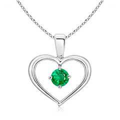 Solitaire Round Emerald Open Heart Pendant