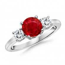 Classic Prong Set Ruby & Diamond Three Stone Ring