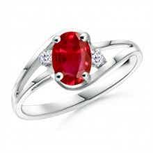 Split Shank Oval Ruby and Diamond Ring