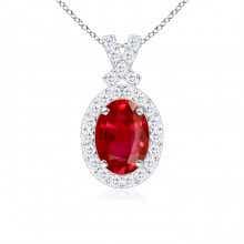 Vintage Inspired Diamond Halo Oval Ruby Pendant
