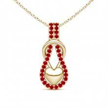 Ruby Studded Infinity Knot Pendant with Puffed Heart
