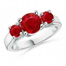 Classic Prong Set Ruby Three Stone Ring