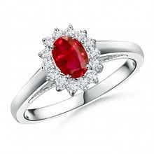 Princess Diana Inspired Ruby Ring with Diamond Halo