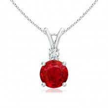 V Bale Ruby Solitaire Pendant with Diamond