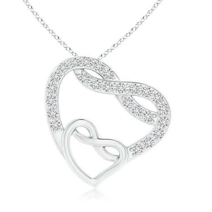 Eternal Diamond Open Twin Heart Necklace