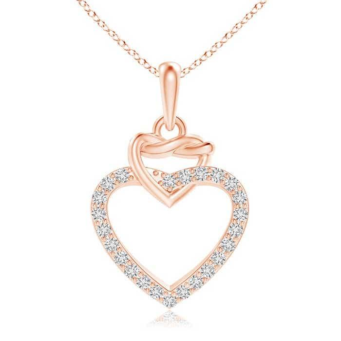 Round Diamond Interlocking Heart Dangle Pendant