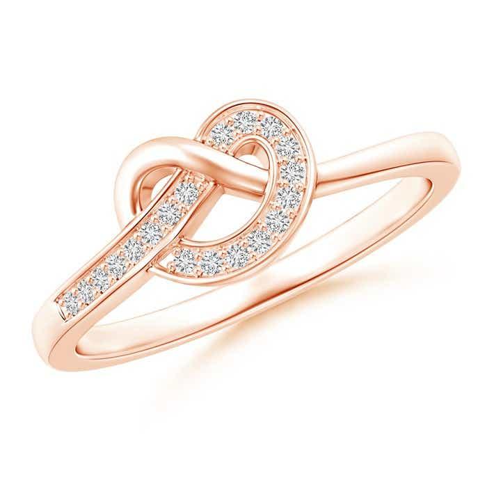 Pave-Set Diamond Pretzel Knot Ring