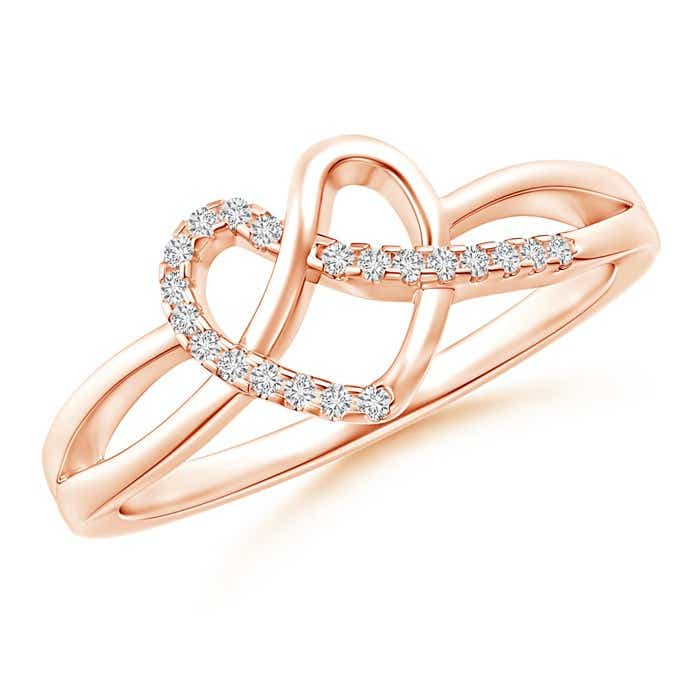 Pave-Set Diamond Knotted Heart Ring