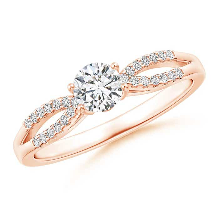 Solitaire Diamond Split Shank Ring With Knotted Heart-Motif