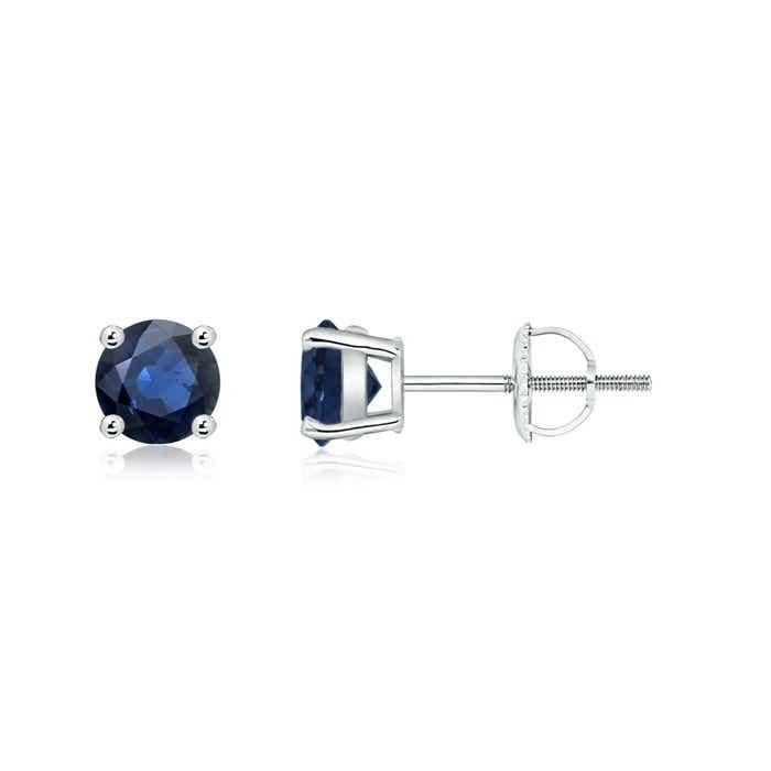 Basket Set Round Genuine Blue Sapphire Stud Earrings