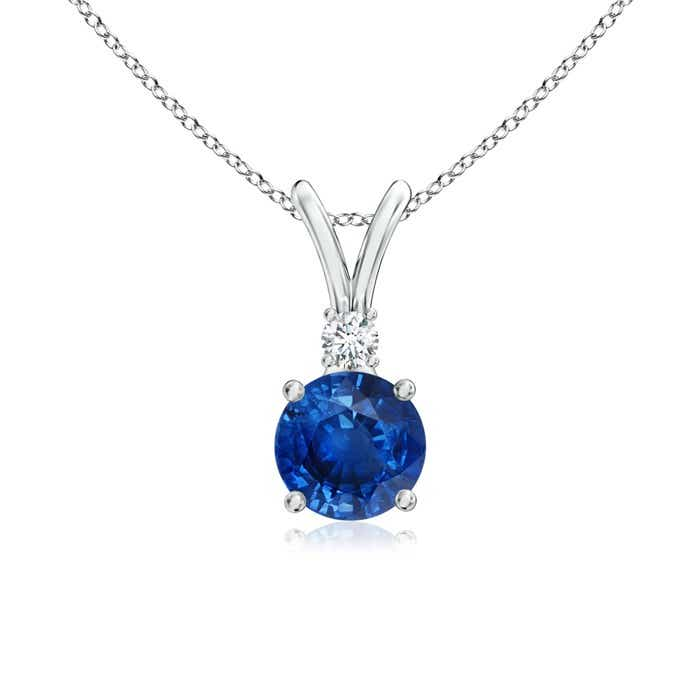 V-Bale Round Blue Sapphire Solitaire Pendant with Diamond