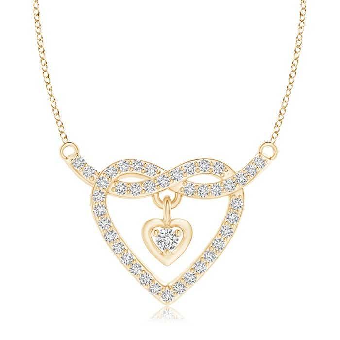 Solitaire Heart Dangle Diamond Pretzel Knot Pendant
