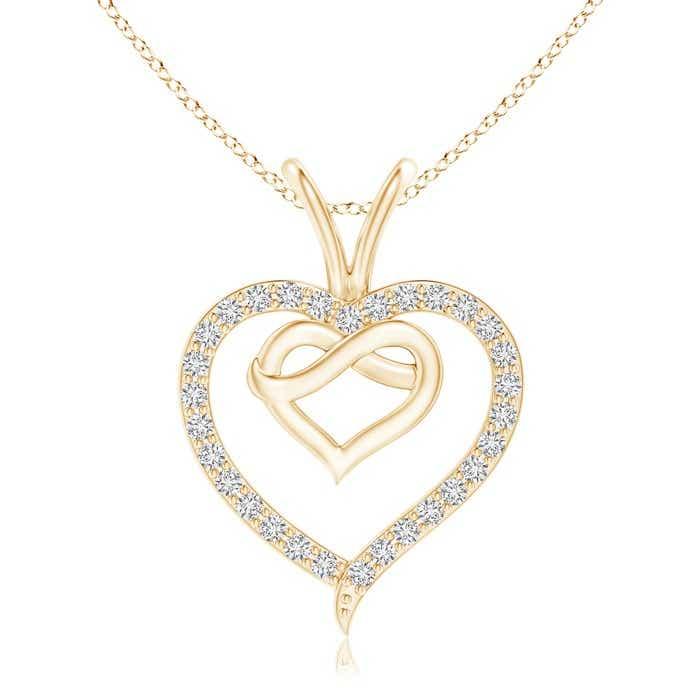 Prong-Set Diamond Concentric Heart Pendant