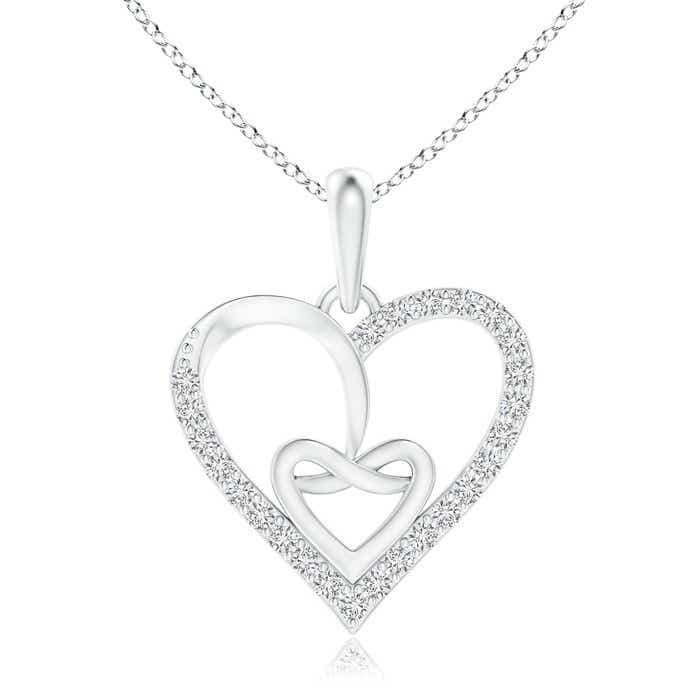 Entwined Diamond Ribbon Heart Pendant