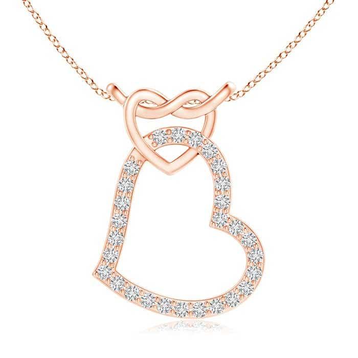 Prong-Set Diamond Interlocking Twin Heart Pendant