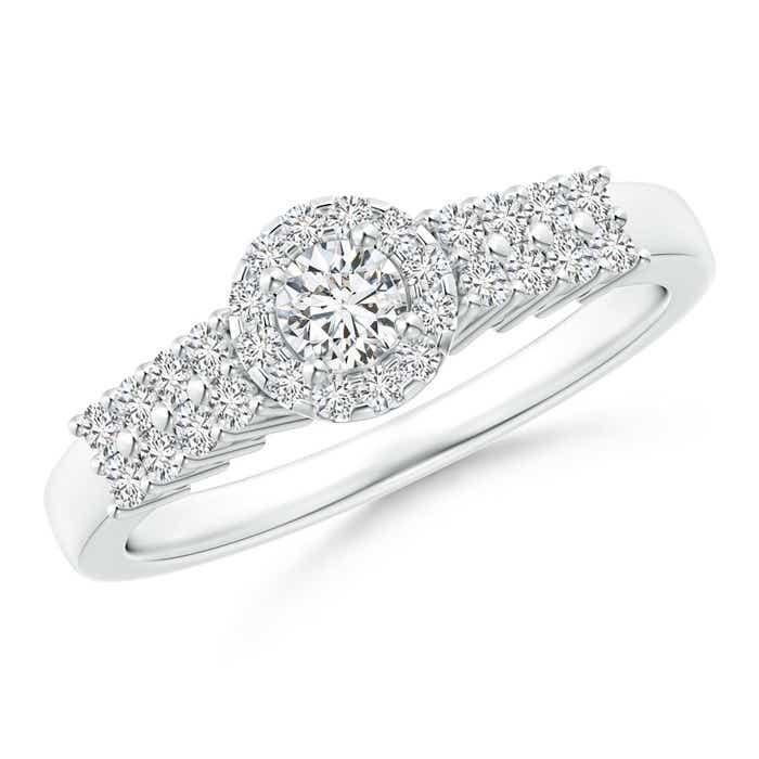 Round Diamond Classic Halo Ring With Pretzel Heart-Motif
