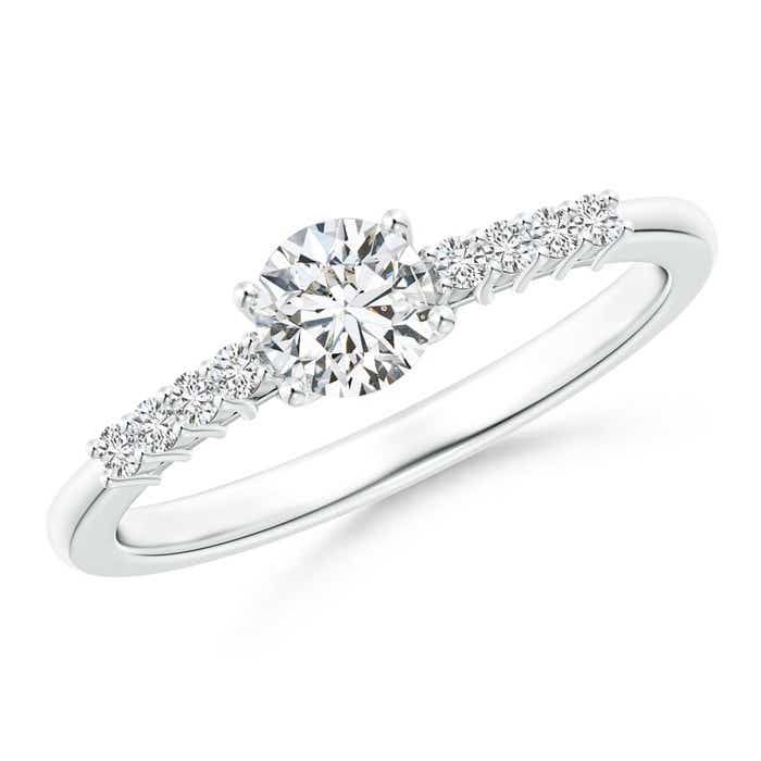 Round Diamond Classic Solitaire Ring With Pretzel Heart-Motif