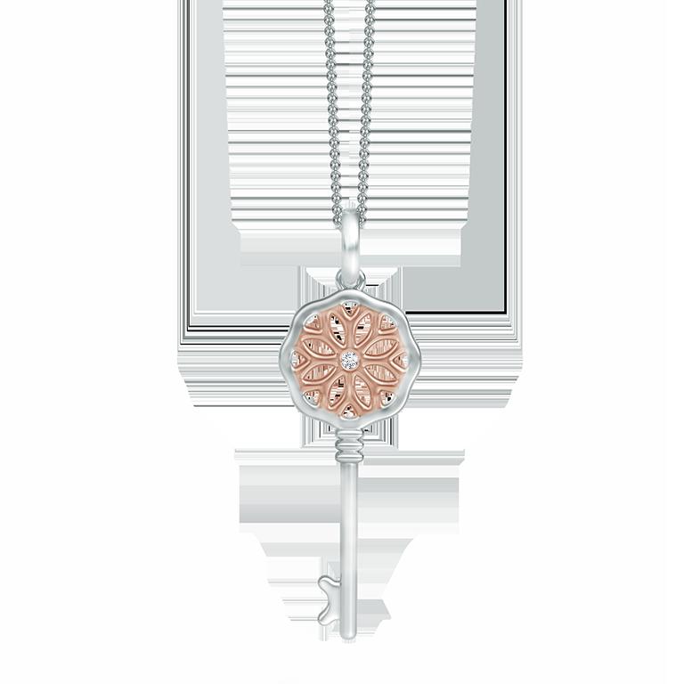 Daisy Key Diamond Pendant in Two Tone
