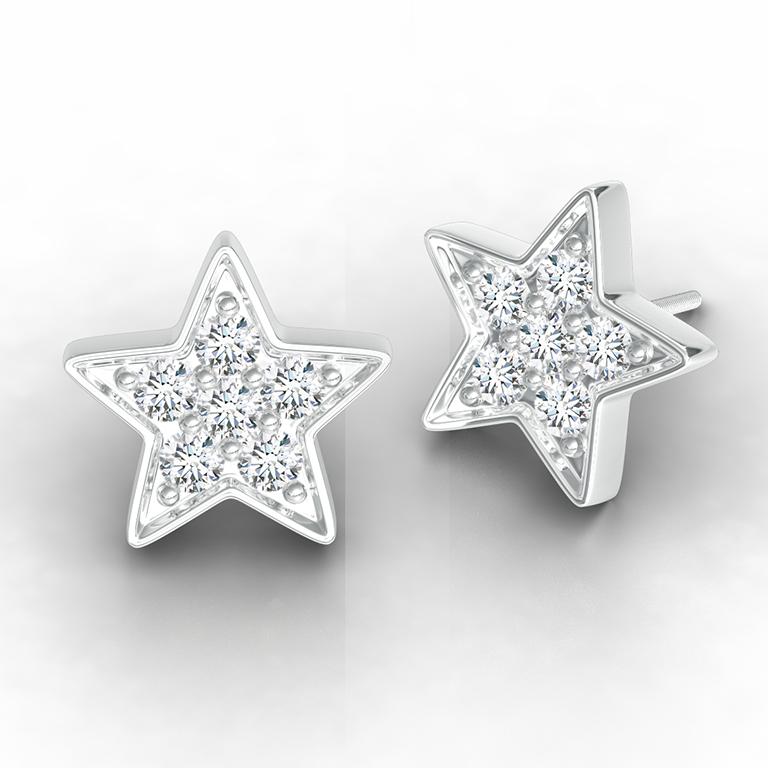 Diamond Cluster Star Stud Earrings